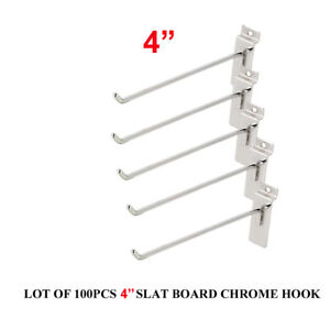 4 Slatwall Slatgrid Panel Display Metal Hook Peg Hanger Chrome Lot Of 100 New