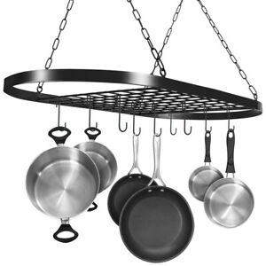 Pot And Pan Rack For Ceiling With Hooks Decorative Oval Mounted Storage Rack