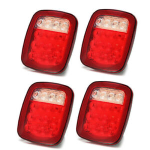 4pcs Red white Truck Trailer Boat For Jeep Stop Turn Tail Back Up 16 Led Light