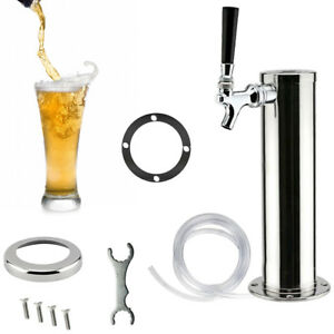 3 Draft Beer Tower Single Tap Stainless Steel One Faucet Homebrew Kegerator Us