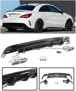 Amg Style Rear Bumper Lower Black Diffuser Muffler Tips For 17 Up Mb Cla Class