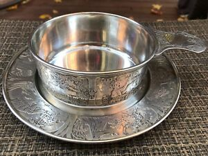 Antique William Kerr Sterling Silver Baby Childs Bowl Plate Nursery Rhymes