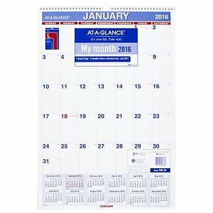 At a glance Monthly Wall Calendar 2017 15 5 X 22 75 Inches Pm3 28