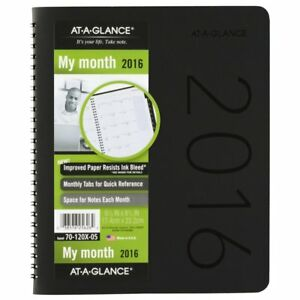 At a glance Monthly Planner 2016 6 88 X 8 75 Inches Contemporary Black Cover