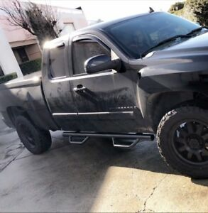 07 18 Chevy Silverado Ext Extended Cab Black Side Steps Nerf Bars Running Boards