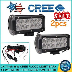 2x 7inch 36w Cree Flood Led Light Bar Off road Atv Fog Truck 4wd With Wiring Kit