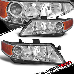 2004 2008 Acura Tsx Projector Replacement Chrome Headlights Pair 2005 2006 2007