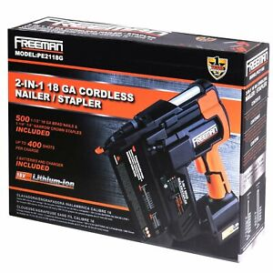 Freeman Pe2118g 18 volt 2 in 1 18 gauge Cordless Nailer Stapler