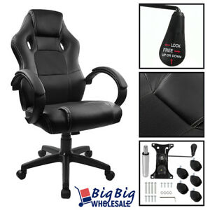 Gaming Racing Leather Highback Executive Office Computer Chair Bucket Seat Black