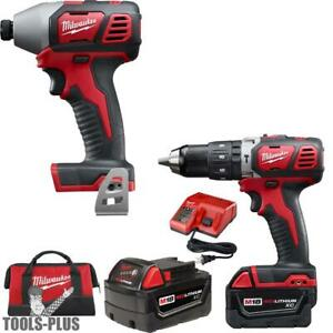 Milwaukee 2697 22 18 Volt M18 2 tool Combo Kit Xc Batts Hammer Impact New