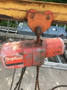 Dayton Electric Chain Hoist 1 2ton With Rolling Trolley And 10 I beam