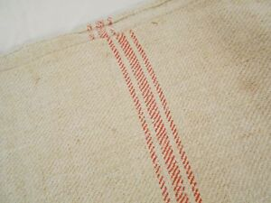 Vtg Antique Triple Light Red Stripe European Hemp Linen Feed Sack Grain Bag