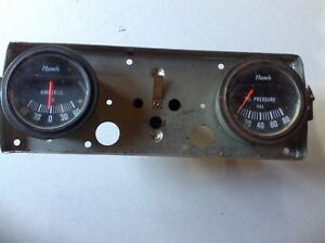 Vintage Hawk Dual Temp Amperes Oil Pressure Rat Hot Rod Dash Panel Gauges