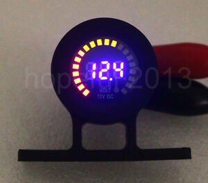 Flush Mount Bracket 12v Led Voltmeter Voltage Gauge Socket Car Motorcycle Boat