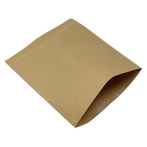 Greaseproof Brown Kraft Paper Bags Chips Sandwiches Packaging Paper Pouch Flat