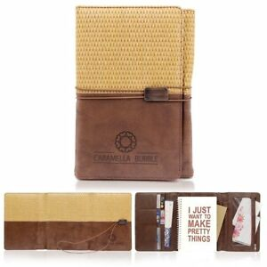 Natural Straw Ruled Business Notebook 3 Folder Pu Leather Appointment Travel