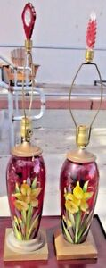 Antique Hand Painted Cranberry Glass Lamps