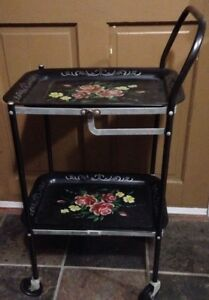 Vintage 2 Tier Metal Rolling Tea Cart Tole Tray Type Design Black Floral