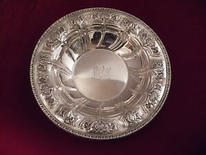 Fancy Sterling Silver Bowl By Dominic Haff W Flower Baskets 10 Monogram