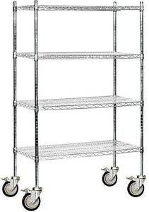 Industrial Mobile Wire Shelving 36x69x18 Hospital Restaurant Garage Storage New