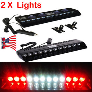 2x 12led Red White Warning Emergency Dash Flash Strobe Beacon Light Bar Ky Stock