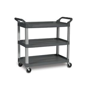 Rubbermaid Commercial Fg409100gray Xtra Service And Utility Cart 3 shelf Open