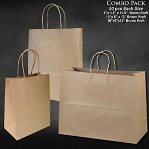 150pc Wholesale Brown Kraft Paper Bags 8 10 16 Tall Retail Shopping Gift Bags