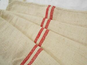 A Vtg Antique Red Stripe French Hemp Linen Fabric Feed Sack Grain Bag 19x52 A