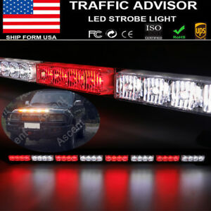 32 Led Car Emergency Warning Dash Visor Flash Strobe Light Bar Lamp Red white Us