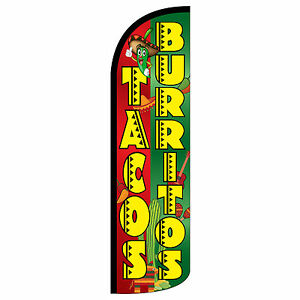 Tacos Burritos Windless Swooper Feather Flag Tall Banner Sign 3 Wide Red Yel