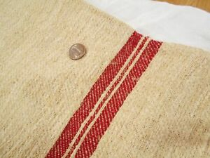 Perfect 20x51 Vtg Antique Red Stripe European Hemp Linen Feed Sack Grain Bag