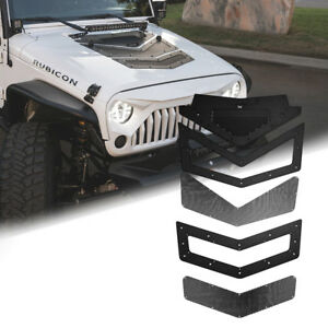 Xprite Black Air Vents Hood Scoop Viper Louver For 07 17 Jeep Wrangler Jk