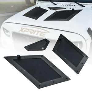 Xprite Black Air Vents Hood Scoop Cobra Louver For 07 17 Jeep Wrangler Jk