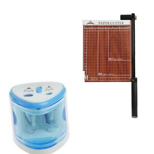 Blue Automatic Pencil Sharpener Manual Paper Cuter Photo Cards Trimmer