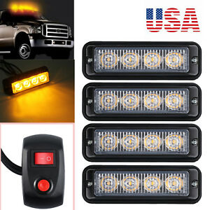 4x 12v 24v 4 Led Car Flashing Amber Light Strobe Cigarette Lighter Waterproof Us
