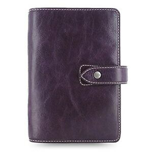 Filofax Malden Purple Personal Size Leather Organizer Agenda Planner Ring Bin