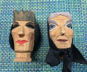 Vtg Henning Norway Carved Wood King Hehad And Peasant Woman Head Statue 4