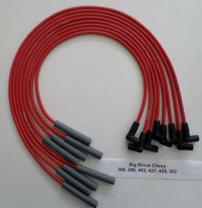 Bbc Chevy 396 427 454 502 Hei Red 8mm Spiral Spark Plug Wires straight Boot Usa