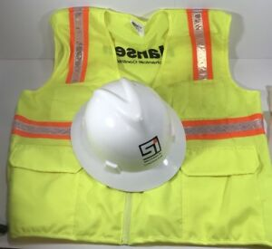 V gard White Hard Hat And 4 Point Ratchet Set And Reflective Vest 2xl New