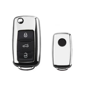 Silver Tpu Car Remote Key Cover Case Shell For Vw Golf Bora Jetta Polo Skoda