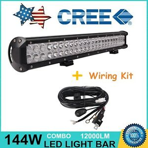 23inch 144w Cree Led Light Bar Combo Off Road Jeep Truck Ford With Wire Harness