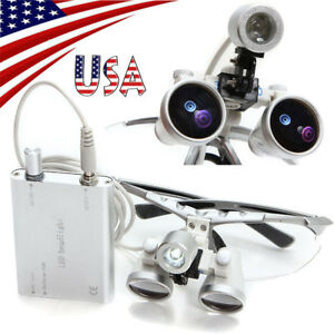Usa Dentist Dental Loupes 3 5x 320mm Optical Glass Magnifier Led Head Light Lamp