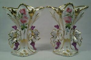 Antique Pair Of Old Paris Porcelain Floral Enameled Spill Vases