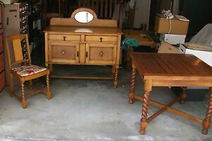 Antique English Oak Barley Twist Draw Leaf Table 4 Matching Chairs