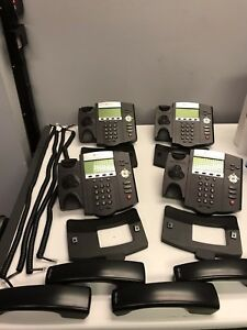Lot Of 4 Polycom Soundpoint Ip 450 Office Phones Handsets And Support Stands