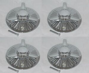 Set Of 4 Tribar Mclean 80 Spoke Wire Wheel Rim Chrome Center Cap 7 5 16 Bolt On