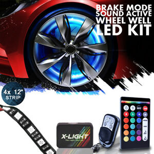 All color Wheel Well Led Light Kit 4pc Custom Accent Neon Strips Rim Tire