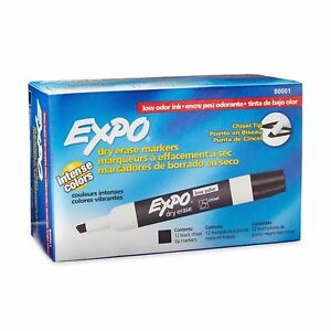 Expo Low Odor Dry Erase Markers Chisel Tip 288 Pack Black 80001 New