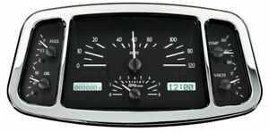 Dakota 33 34 Ford Car Analog Dash Gauge System Black Alloy White Vhx 33f
