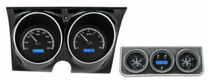 Dakota 67 Camaro Firebird Analog Console Gauges Black Blue Vhx 67c cac